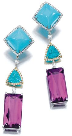 Margherita Burgener Earrings: Each surmount set with a polished sugarloaf turquoise, suspending a triangular apatite and a buff top amethyst, highlighted with brilliant-cut diamonds.