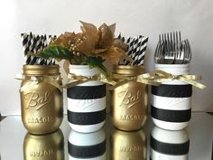 Set of 4 Painted Black and White Striped Mason Jars and Gold Metallic, Wedding C. - Set of 4 Painted Black and White Striped Mason Jars and Gold Metallic, Wedding Centerpiece, Holiday - Gold Wedding Decorations, Diy Party Decorations, Decoration Table, Wedding Centerpieces, Christmas Decorations, Black And Gold Centerpieces, Black And Gold Party Decorations, Holiday Decor, Diy 60th Birthday Centerpieces