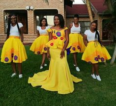 Beautiful Yellow Tsonga Bridesmaid's Dress 2020 African Traditional Wedding Dress, Traditional Wedding Attire, African Fashion Dresses, African Dress, African Wear, Tsonga Traditional Dresses, Naija, Costume Africain, Yellow Wedding Dress