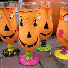 Hand painted halloween hurricane glasses set of 4 | CRYSTALCLEARCREATIONS - Glass on ArtFire