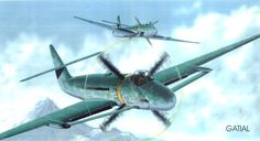 """The Blohm & Voss P192  an intended ground attack / dive bomber to replace the aging and outmoded Junkers Ju 87 """"Stuka"""" dive bomber series so critical to the war's early years powered by DB 603G of 1875hp  The engine was not configured in a """"pusher"""" or """"puller"""" arrangement in the true sense of those words but instead buried within the fuselage, the propeller blades protruding from the fuselage skin to enact against air flow."""