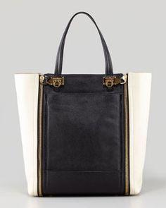 89670cac7f0fc6 Salvatore Ferragamo Suzanne Bicolor Zip-Front Tote Bag