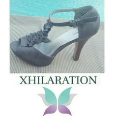 XHILARATION GRAY HIGH HEELS *VERY COMFORTABLE HEELS WITH FRONT    RUFFLES. *HAVE SOME WEAR, BUT STILL IN GOOD    CONDITION.  (SEE PICS FOR DETAILS) MAKE ME AN OFFER! Xhilaration Shoes Heels