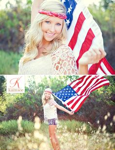 All American High School Girl. American flag. Photography by Kamice