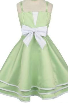 Satin Spaghetti Bow Matching A Line Princess Girls Formal Dresses