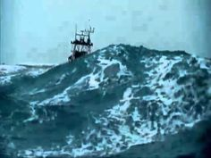 Ship in rough sea.  Listen to metal.