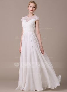 [US$ 159.99] A-Line/Princess Scoop Neck Floor-Length Chiffon Wedding Dress With Ruffle