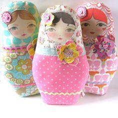 PDF Sewing Pattern Matryoshka Doll with Flower by zouzoudesign