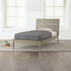 With a stunning grey wash finish, the Wrightwood kids bed is easy to coordinate with other kids furniture and decor. Add a bed rail to make the bed toddler-friendly.