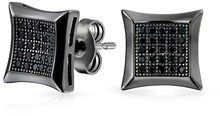 Bling Jewelry Mens Micro Pave Cz Kite Black Rhodium Plated Silver Studs 9mm.