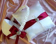Burgundy Weddings Flower Girl Basket and Ring Bearer Pillow Set