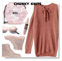 """""""Chunky knit"""" by simona-altobelli ❤ liked on Polyvore featuring Edie Parker, Maybelline, fab, Pink, polyvorecontest, chunkyknits and MyPowerLook"""