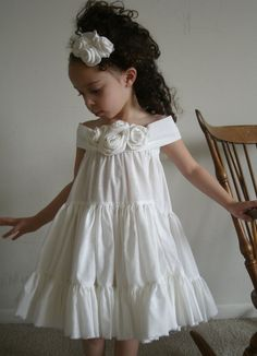Items similar to Treasury item - Wedding Flower Girls Party Dress Beautifu Natural Cream Ruffled Dress with Flowers. This listing is for on Etsy Birthday Girl Dress, Girls Party Dress, Birthday Dresses, Little Dresses, Little Girl Dresses, Flower Dresses, Baby Dress, Girls Dresses, Ruffle Dress