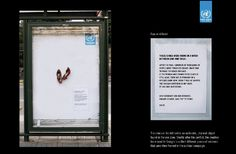Real artefacts from conflict used in outdoor ads. Simple, true. Love it.