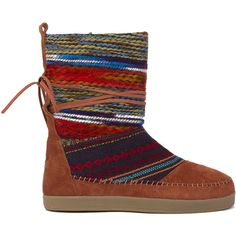 TOMS Nepal Boots - Cognac Suede Textile Mix ($98) ❤ liked on Polyvore featuring shoes, boots, cognac suede textile mix, toms footwear, cognac boots, suede shoes, toms shoes and cognac shoes