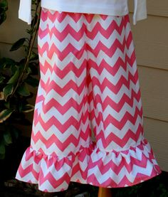 Girls Chevron Ruffle Pants/Capris.  Sizes 3 mths - Size 6 via Etsy
