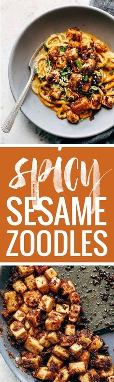 Spicy Sesame Zoodles with Crispy Tofu! SUPER easy recipe with familiar ingredients - soy sauce, peanut butter, sesame oil, garlic, zucchini, and tofu. Vegan / Vegetarian | http://pinchofyum.com