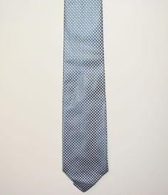 Croft & Barrow Mens Blue White Checked USA 100% Silk Dress Neck Necktie Tie 60in #CroftBarrow #Tie