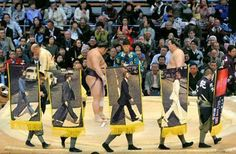 """A parody picture. The Sumo prize banners of """"Abbey Road""""."""