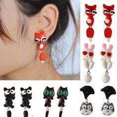 Korean Aros Polymer Clay Cartoon Animal Cute Fox Earring Bear Harajuku Earings Fashion Small Stud Earrings For Women Jewelry