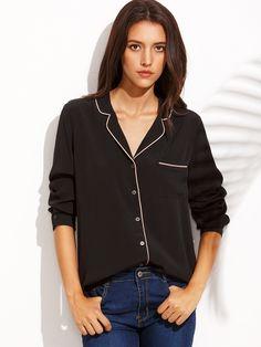 Black Lapel Button Front Long Sleeve Blouse — 0.00 € ------------color: Black size: L,M,S,XS