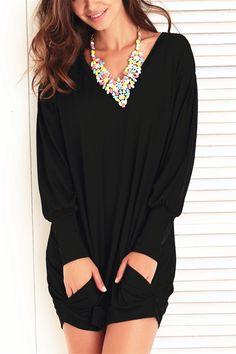 $13.94 Casual V-Neck Long Sleeve Pocket Design Dress