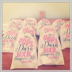 Checkout these fun OOPS DARN OUCH hangover favor bags in action! #oops #ouch #darn #drunk #hungover #wasted #bach #letsparty #party #bachelorette #bachelorettebash #bacheloretteparty #recoverykit #ilulilydesigns