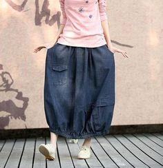 Cowboy Blue Skirt Big Pocket Skirts Cotton Chic by clothingshow, Denim Fashion, Skirt Fashion, Hijab Fashion, Fashion Outfits, Womens Fashion, Linen Skirt, Linen Pants, Simple Outfits, Summer Outfits