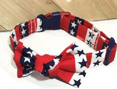 Red White & Blue Patriotic Stars and Stripes Collar and Bow For Male Or Female Dogs or Cats Buckled or Martingale Style /Leash Upgrade by UppityPuppitys on Etsy Bee Dog, Cat Accessories, Brass Metal, Red White Blue, Collars, Stripes, Bows, Female, Stars