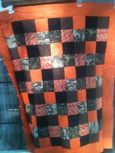 Hunter orange and camo baby quilt