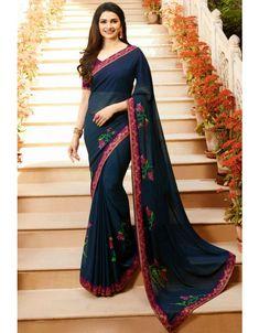 d70c268fe98 Prachi Desai Midnight Blue Saree