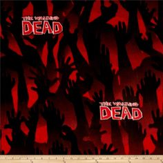The Walking Dead Fleece Zombie Arms Red from @fabricdotcom  Springs Creative Products Group, this cotton print this polyester fleece is perfect for creating jackets, vests, scarves, mittens, throws and more! Colors include white, black, burgundy and red. Due to licensing restrictions, this item can only be shipped to USA, Puerto Rico, and Canada.
