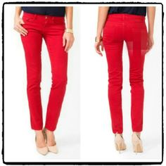 Forever 21 Red Skinny Jeans NWOT Size 27.  Material is 98% cotton and 2% spandex. Excellent brand new condition Forever 21 Jeans Skinny