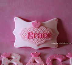 Fondant Name and name plaque cake topper by CakesbyAngela on Etsy