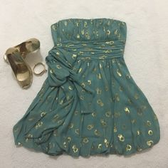 BCBG MAXAZRIA dress Turquoise and gold strapless dress.  In great condition. BCBG Dresses Mini