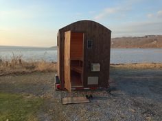 """Have you ever wanted to warm up while camping and swimming at your favorite (but chilly) lake? The mobile sauna concept is growing around the nation for DIY lovers of the popular Scandinavian pastime. The """"Lake Diy Sauna, Trailer Diy, Tiny House Trailer, Mobile Sauna, Building A Sauna, Vintage Airstream, Airstream Interior, Vintage Campers, Amigurumi"""