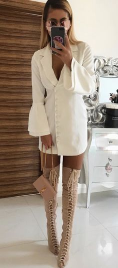 #winter #outfits women's white button-up coat