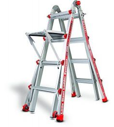 Little Giant Alta-One Ladder, 15 Feet - If you have a stairway in your house. this ladder is a MUST HAVE. If you are only going to have one ladder, this multi-purpose ladder does just about everything. Multi Purpose Ladder, A Frame Ladder, Diy Ladder, Locking Hinge, Best Ladder, Aluminium Ladder, Folding Ladder, Little Giants, Stairs
