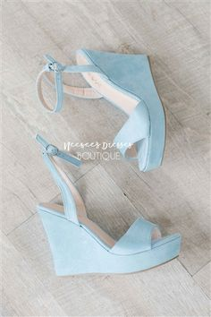 Who exactly doesn't like cute wedges?, see our fabulous collection of zip-back and shoulder strap wedges for each time! Best Bridal Shoes, Wedge Wedding Shoes, Beach Wedding Shoes, Wedding Wedges, Summer Wedding, Blue Wedge Heels, Blue Wedges, Wedge Shoes, Summer Wedges
