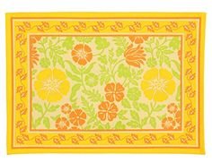 """Indian Cotton Placemats for the Dining Room - Yellow Orange Floral - Set of 6 Washable 13"""" x 19"""" Place Mats ShalinIndia http://www.amazon.com/dp/B00TAU196U/ref=cm_sw_r_pi_dp_psgWvb09RY71M"""