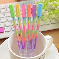 6 pcs rainbow color gel pen for DIY scrapbook album photo decoration
