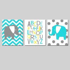 Elephant Nursery Art Trio  Chevron Elephant Alphabet by Tessyla, $55.00