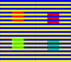 The Munker Illusion destroys your faith in color. Squares of the same color are either on a yellow background and covered with blue bars or on a blue background covered by yellow bars. They look like completely different shades.