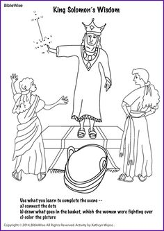 Kids coloring page from what 39 s in the bible featuring for King solomon crafts for preschoolers