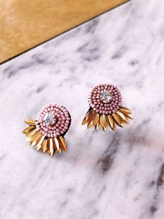 the Athena stud Earrings in Pink! by Coralie Reiter Jewelry