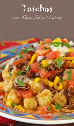 Totchos - Potato tots, taco ground beef, cheese, fresh salsa and sour cream baked in a casserole dish that can be ready in less than 45 minutes. Recipes, Food and Cooking