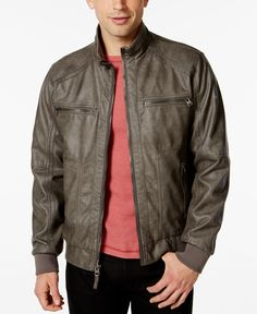 Accentuate your casual or formal look with this handsome bomber jacket from Calvin Klein Mens, detailed with a faux-leather exterior and stylish moto collar. | Shell: polyurethane; interior: polyester