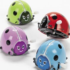 Flipping Wind-Up Ladybugs  These wildly adorable ladybugs are so much fun to play with! Wind them up and watch them flip! A party favourite among kids, these colourful wind-up bug toys are great for treat or loot bags. Give them out as prizes. Excellent Ladybug party idea!.