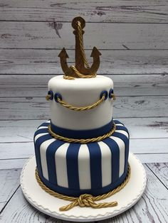 Mercedes Strachwsky is a self-taught cake designer. Anchor Birthday Cakes, Anchor Cakes, Baby Shower Cupcakes For Boy, Baby Shower Cakes, Nautical Cake, Nautical Wedding, Striped Wedding, Wedding White, Mug Cupcake