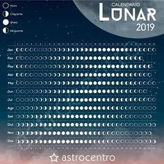 Calendário Lunar 2019 on Behance Moon Phase Calendar, Planets Wallpaper, Lunar Phase, Nature Study, Calendar Design, Moon Phases, Book Of Shadows, Data Visualization, Wicca